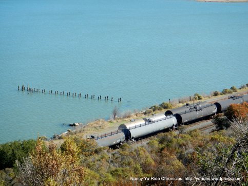 working trains along the shoreline
