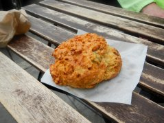 savory scone with Cajun yam, spring onion and feta