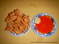 Fried Won-ton skins with Sweet & Sour Sauce