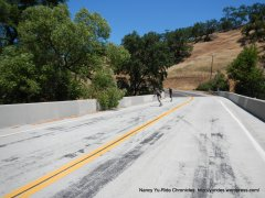 skateboarders crossing Smith Creek