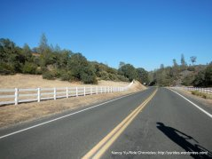 white fence lined road