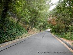 becomes single lane road