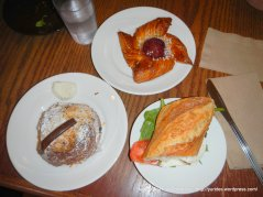 twice baked choclate croissant, plum danish & BLT sandwich