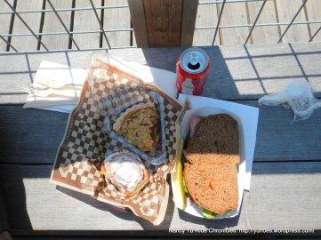 pastrami sandwich, cinnamon roll & apple pie