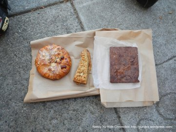 Almon Pear danish, Meyer lemon shortbread & Brownie
