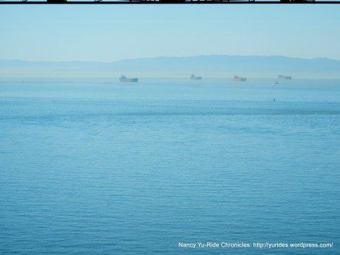 cargo ships in the bay