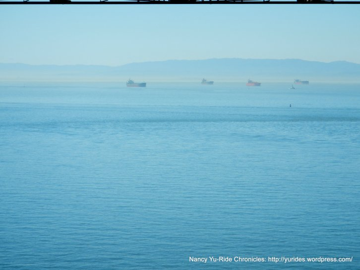 cargo ships in the bay
