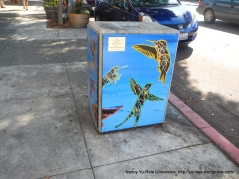 painted trash cans