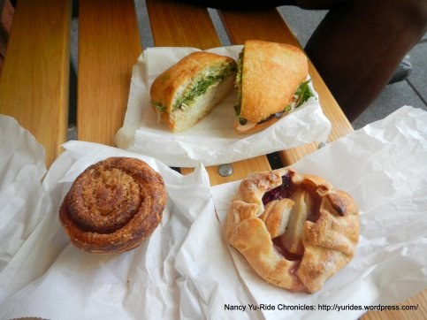 turkey avocado sandwich, sticky bun & pear tartlet