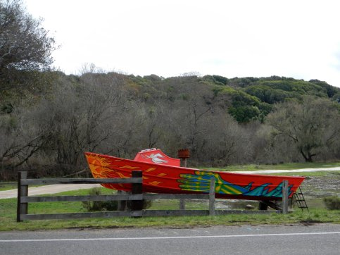 fire red boat