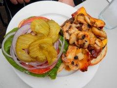 Mushroom, bacon & cheese burger