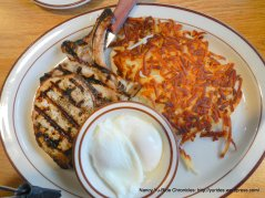 pork chops-hashbrowns & poached eggs