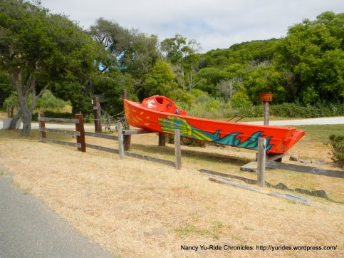 red boat on Pt Reyes Petaluma Rd
