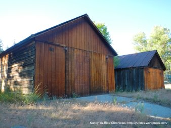wooden barn type buildings